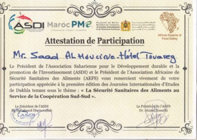 Certification Palais Touareg Hotel Dakhlla